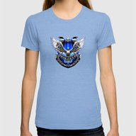 HARRY POTTER RAVENCLAW Womens Fitted Tee Tri-Blue SMALL