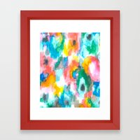 Paradise Watercolor Ikat Framed Art Print