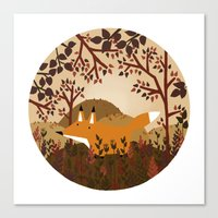 Fox In The Forest Canvas Print