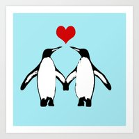 Penguins in love Art Print