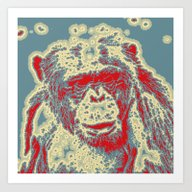 Abstract Animal - Chimpa… Art Print