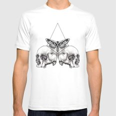 Skull moth SMALL White Mens Fitted Tee