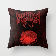 Decapitated by dishwasher III (red) Throw Pillow