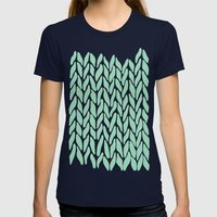 Hand Knitted Mint Womens Fitted Tee Navy SMALL
