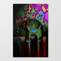 Green Elephant Canvas Print