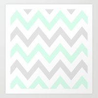 WASHED OUT CHEVRON (MINT & GRAY) Art Print