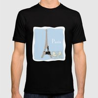 Paris In Powder Blue Mens Fitted Tee Black SMALL