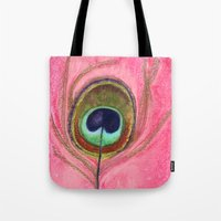 Peacock Feather Print, pink feather, feathers, feather art, pink, bird feathers, peacock Tote Bag