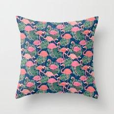 Flamingos Night Throw Pillow