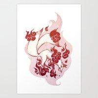 Kitsune Burn Burn Art Print