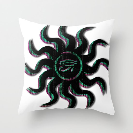 Blue Egyptian Sun Throw Pillow