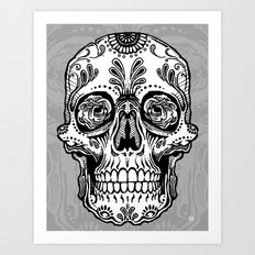 Sugar Skull (Gray) Art Print
