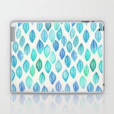 Watercolor Leaf Pattern in Blue & Turquoise Laptop & iPad Skin