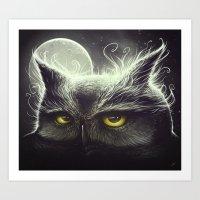 owl Art Prints featuring Owl & The Moon by Dr. Lukas Brezak