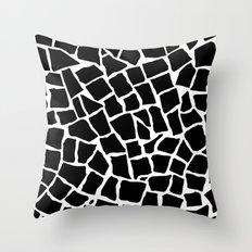 Mosaic Zoom Black and White Throw Pillow