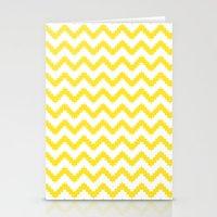 funky chevron yellow pattern Stationery Cards