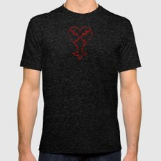 KINGDOM HEARTS : HEARTLE… Mens Fitted Tee Tri-Black SMALL