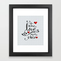 Valentine Love Calligraphy and Hearts Framed Art Print