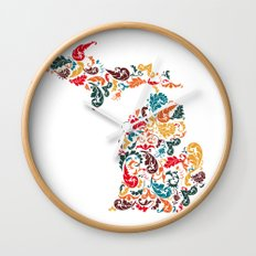 Michigan Colors Wall Clock