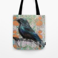 Orange flowers bird Tote Bag