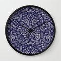Chalkboard Floral Doodle Pattern in Navy & Cream Wall Clock
