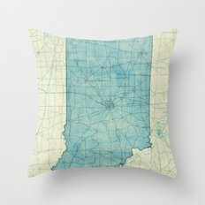 Indiana State Map Blue V… Throw Pillow