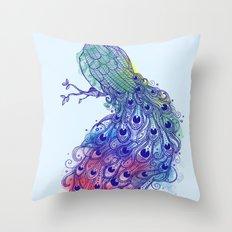 Calm Blue Peacock Throw Pillow