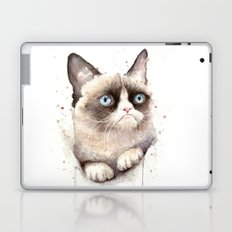 Grumpy Watercolor Cat Laptop & iPad Skin