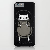 cat iPhone & iPod Cases featuring space cat by Louis Roskosch