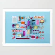Miniature Collage: Crafting Art Print