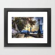 River Thames Path Oil Framed Art Print