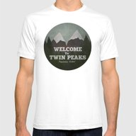 Welcome To Twin Peaks Mens Fitted Tee White SMALL