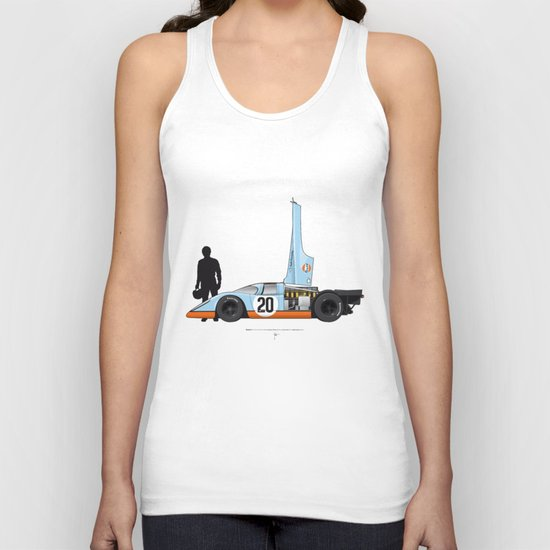 Outline Series N.º4, Steve McQueen, Porsche 917, Le Mans movie 1971 Unisex Tank Top