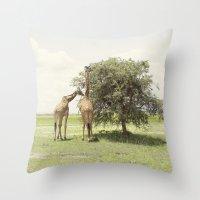 giraffes::rwanda Throw Pillow