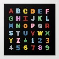 Alphabet On Black Canvas Print