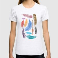 Feathers on White Womens Fitted Tee Ash Grey SMALL
