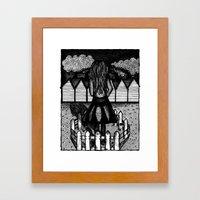 white fences Framed Art Print