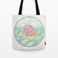 Elephant Across the Sea Tote Bag