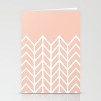 LACE CHEVRON (PEACH) Stationery Cards