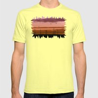 Wind power plant at dawn Mens Fitted Tee Lemon SMALL
