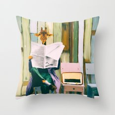 Giraffe reads the paper... Throw Pillow