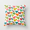 Colorful grunge hearts Throw Pillow