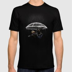 Cat & Dog Black Mens Fitted Tee SMALL