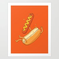 Hotdog Fall Art Print