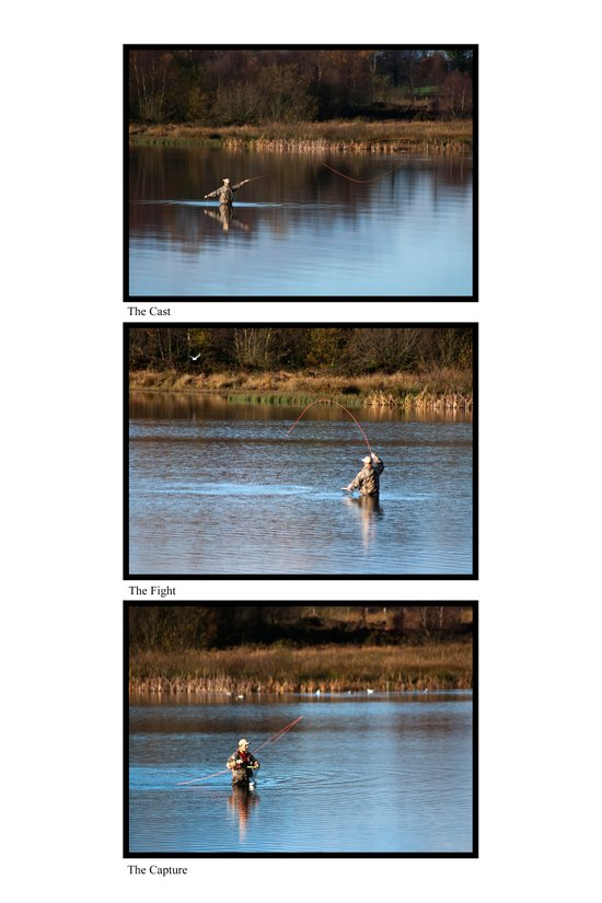 Fly Fishing Triptych White Background Canvas Print