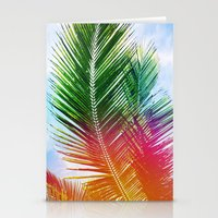 Neon Rainbow Palm Stationery Cards