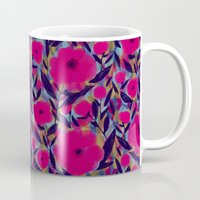 Layered Leaf Floral Fuchsia Mug