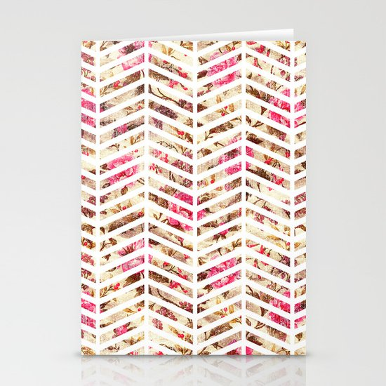 Pink Vintage Floral Girly Chevron Zig Zag Pattern Stationery Card