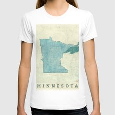 Minnesota State Map Blue Vintage Womens Fitted Tee White SMALL