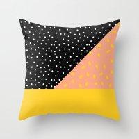 Peach Fuzz Black Polka D… Throw Pillow